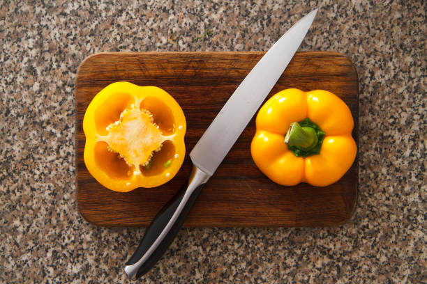 Yellow pepper III Cooking salad with yellow pepper advisable stock pictures, royalty-free photos & images
