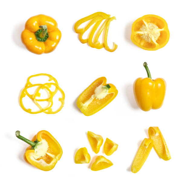 Yellow pepper Yellow pepper on a white background yellow bell pepper stock pictures, royalty-free photos & images