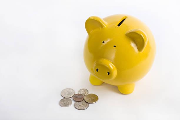Yellow Piggy Bank stock photo