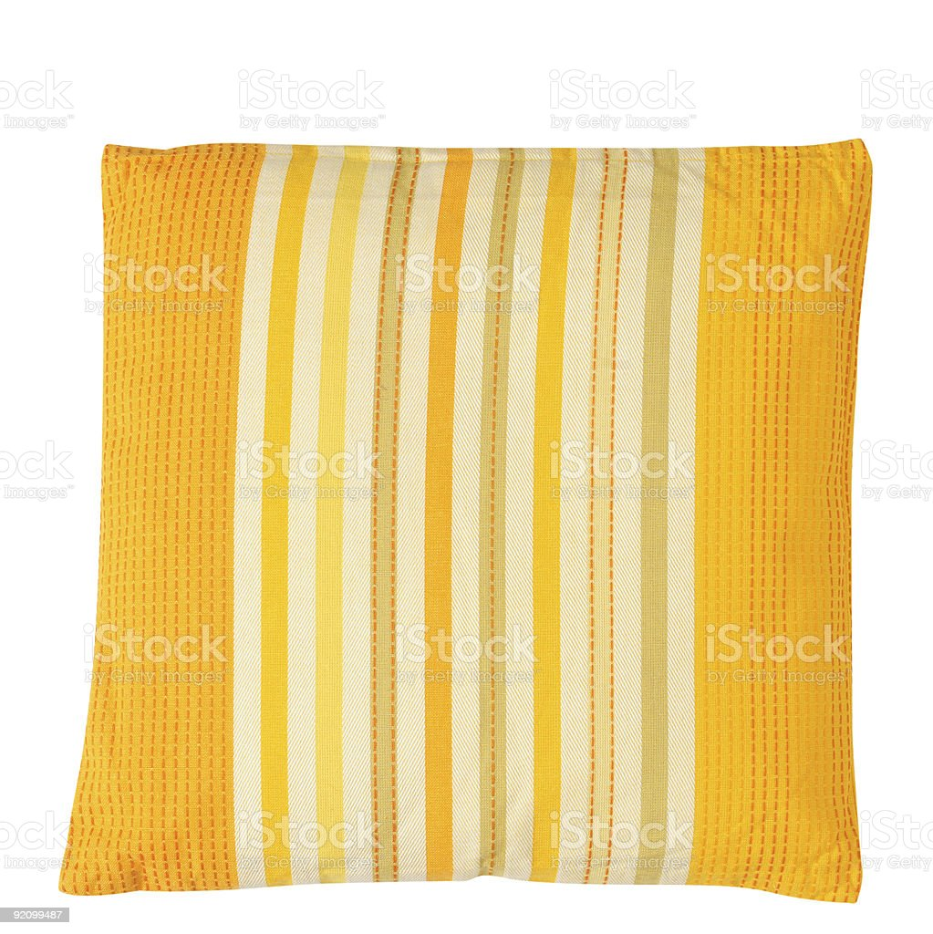 Yellow pillow. Clipping path royalty-free stock photo
