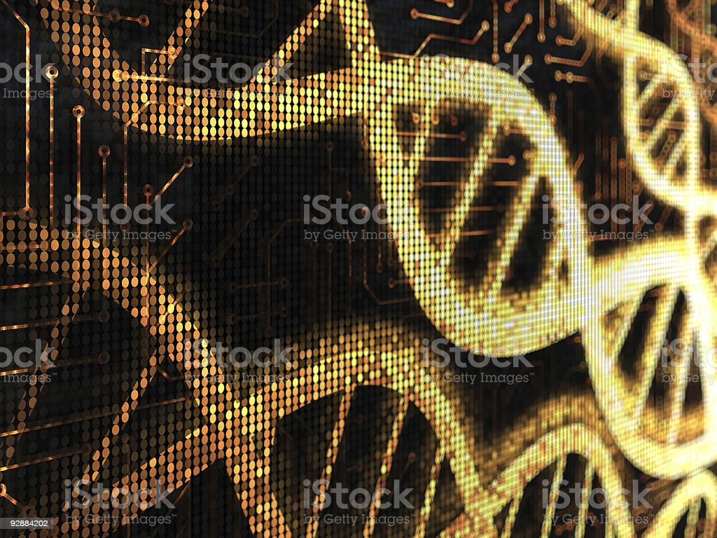 Yellow pixelated DNA strands on a black background royalty-free stock photo