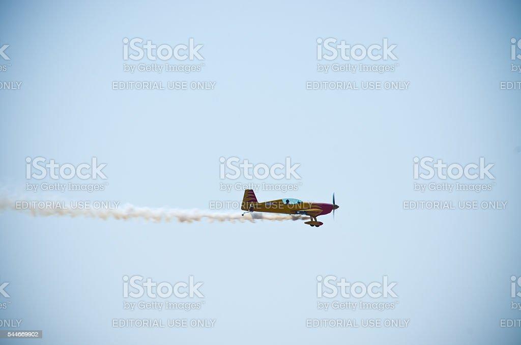 Yellow plane on Radom Airshow, Poland stock photo