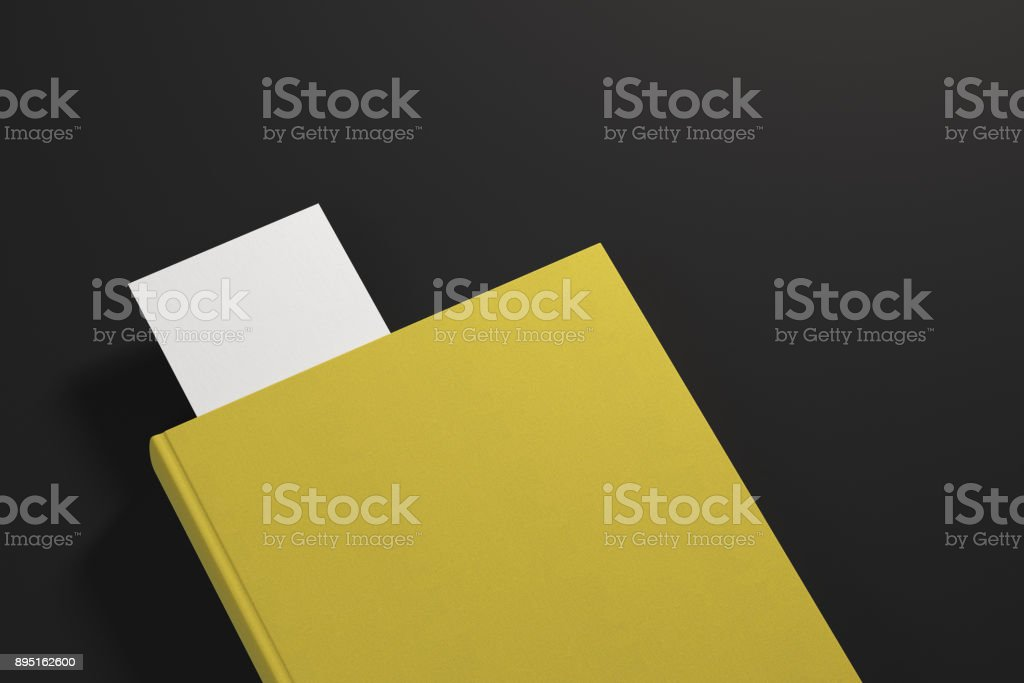 Yellow planner with white bookmark stock photo