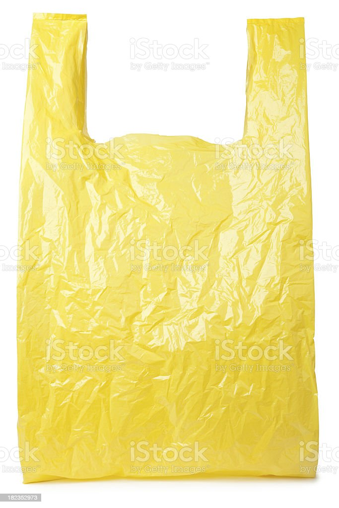 Yellow plastic bag stock photo