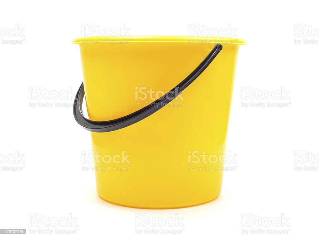 Yellow plastic bucket - Royalty-free Afval Stockfoto
