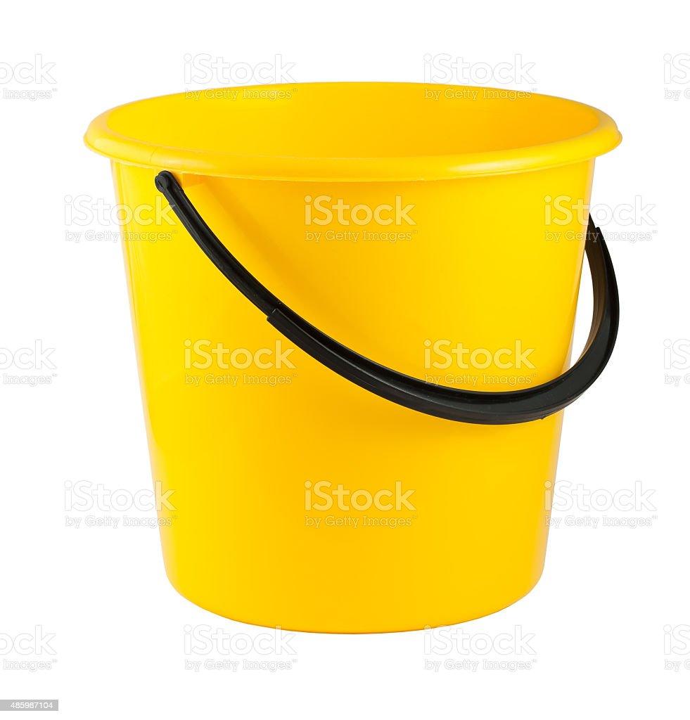 Yellow plastic bucket stock photo