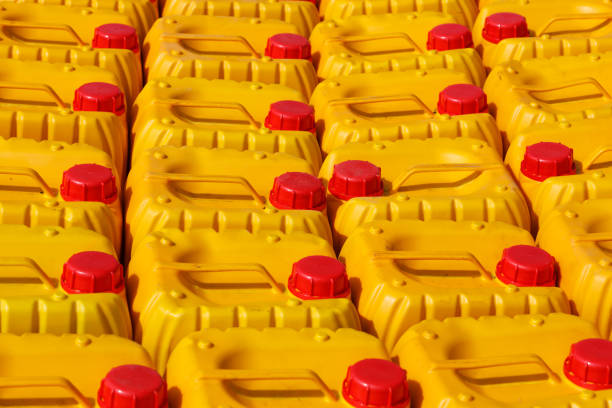 Yellow plastic canister for water or gasoline stock photo