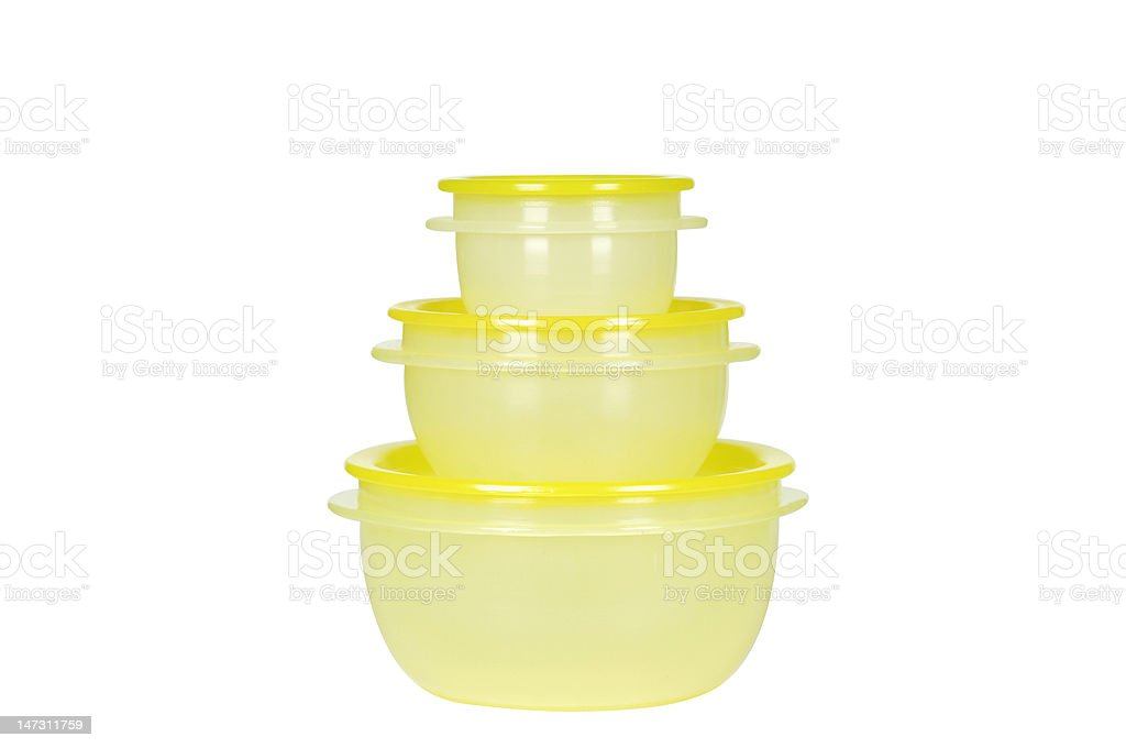 yellow plastic containers royalty-free stock photo