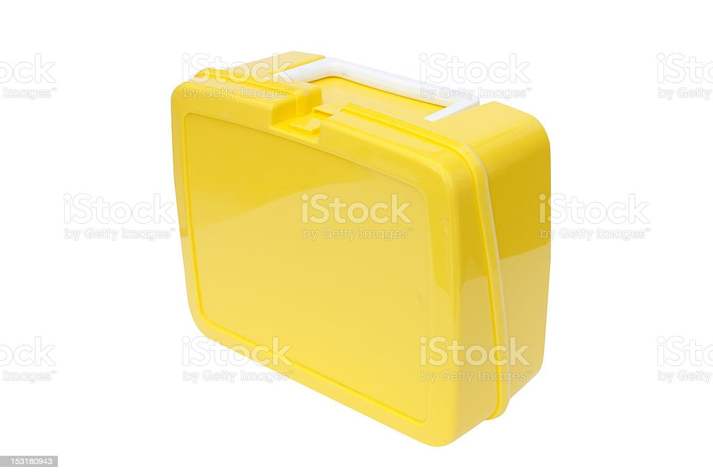 yellow plastic lunchbox stock photo