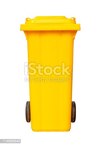 Yellow plastic rubbish bin isolated on white background with pen tool clipping path