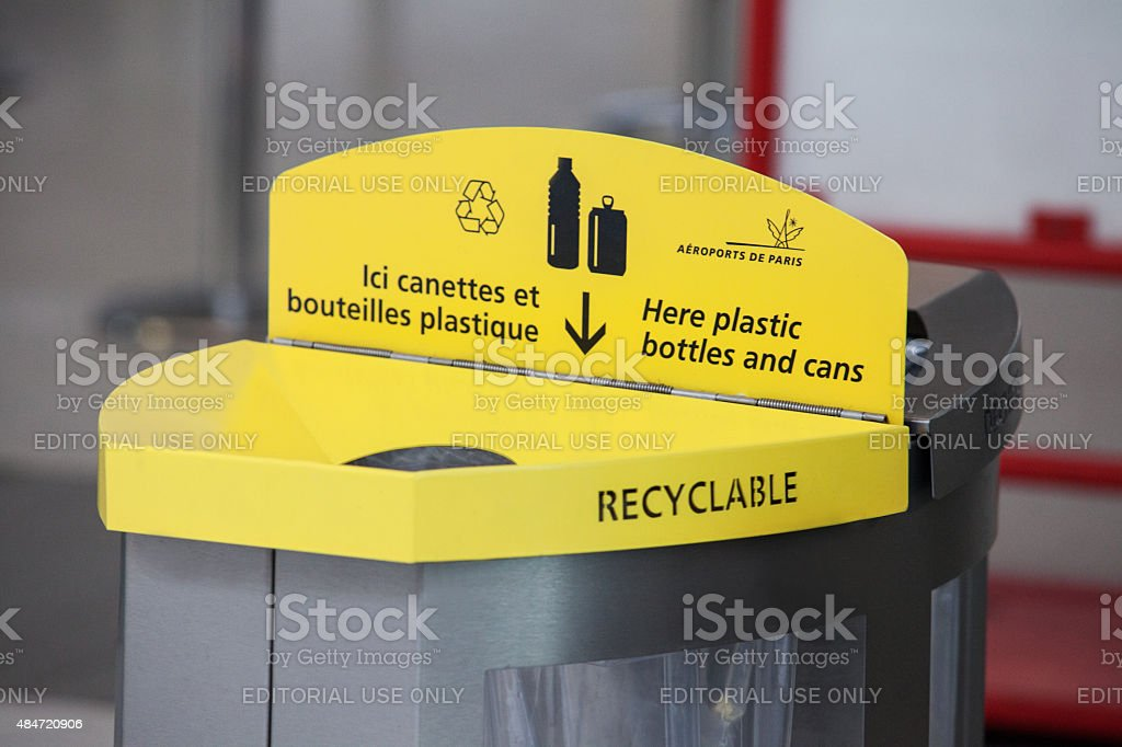 Yellow plastic trash for plastic bottle stock photo