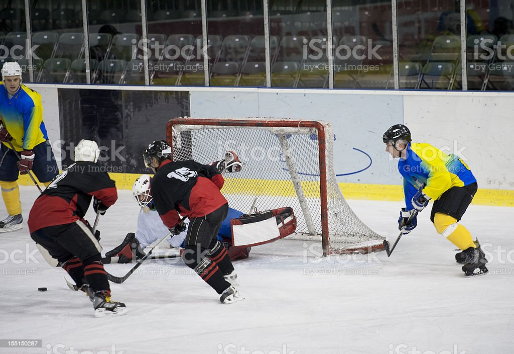 Yellow players having chance for scoring royalty-free stock photo