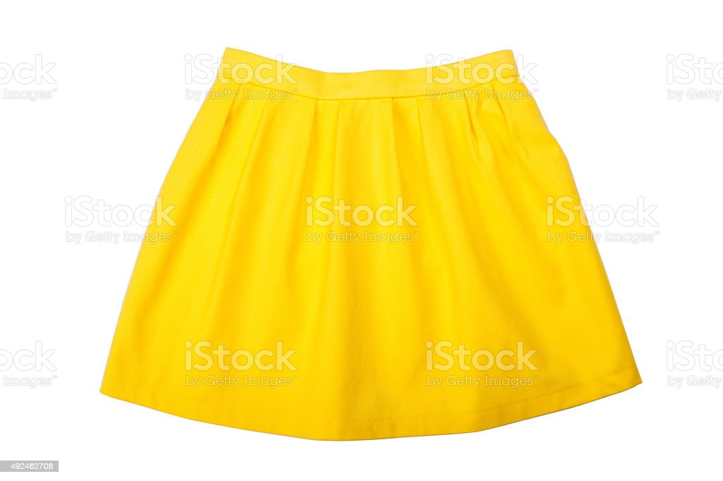 Yellow pleated skirt isolated on white background stock photo