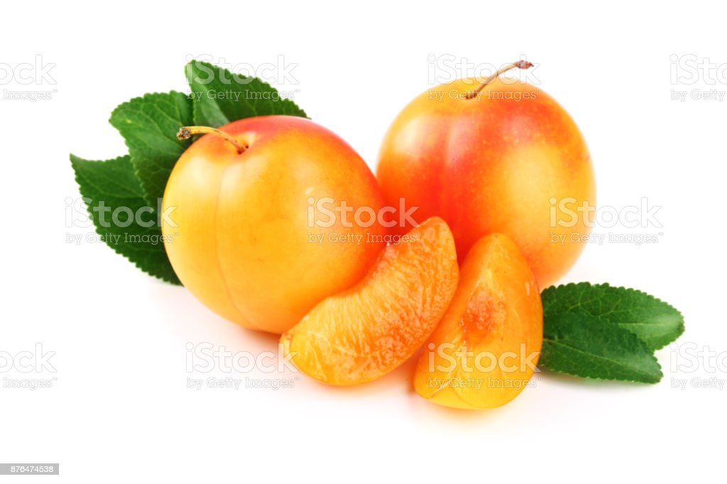 Yellow plum and half with leaves isolated on white background stock photo