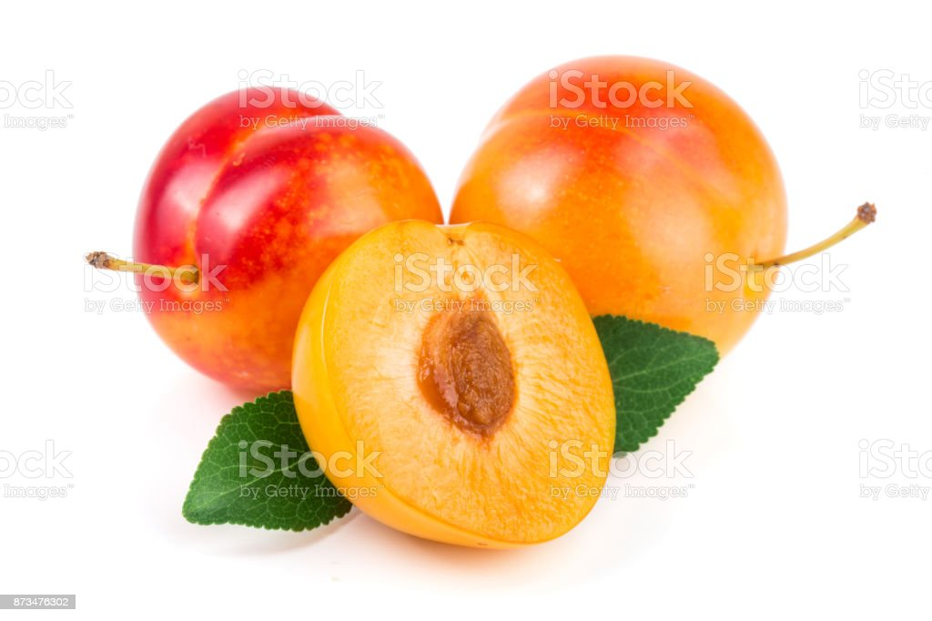 Yellow plum with leaves isolated on white background stock photo