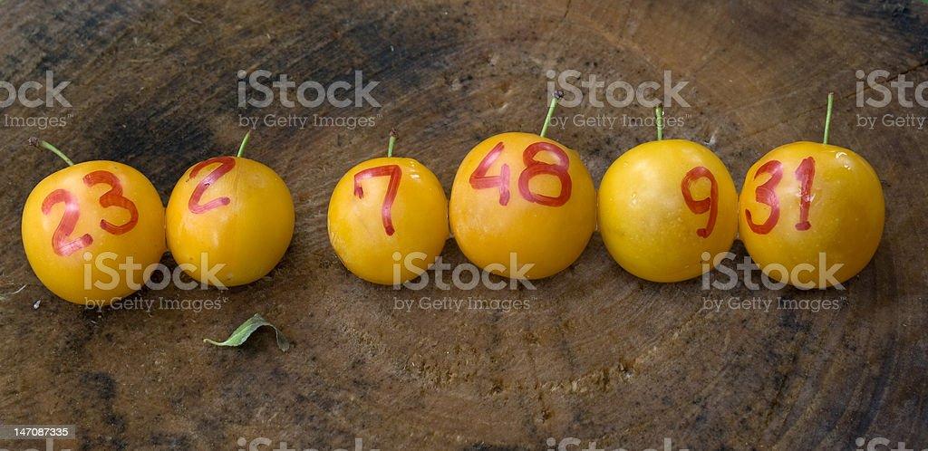 yellow plums like lottery winning balls royalty-free stock photo