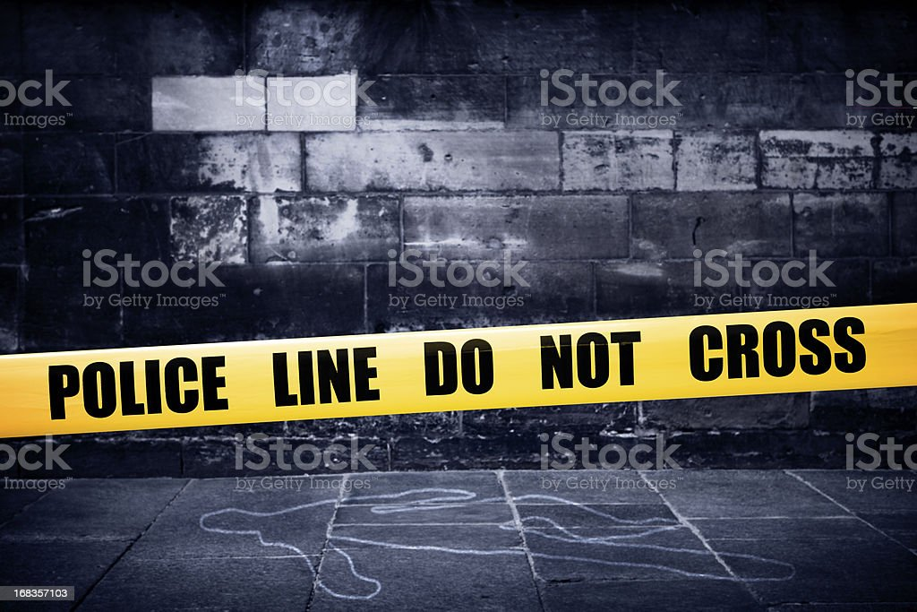 Yellow police line on crime scene stock photo