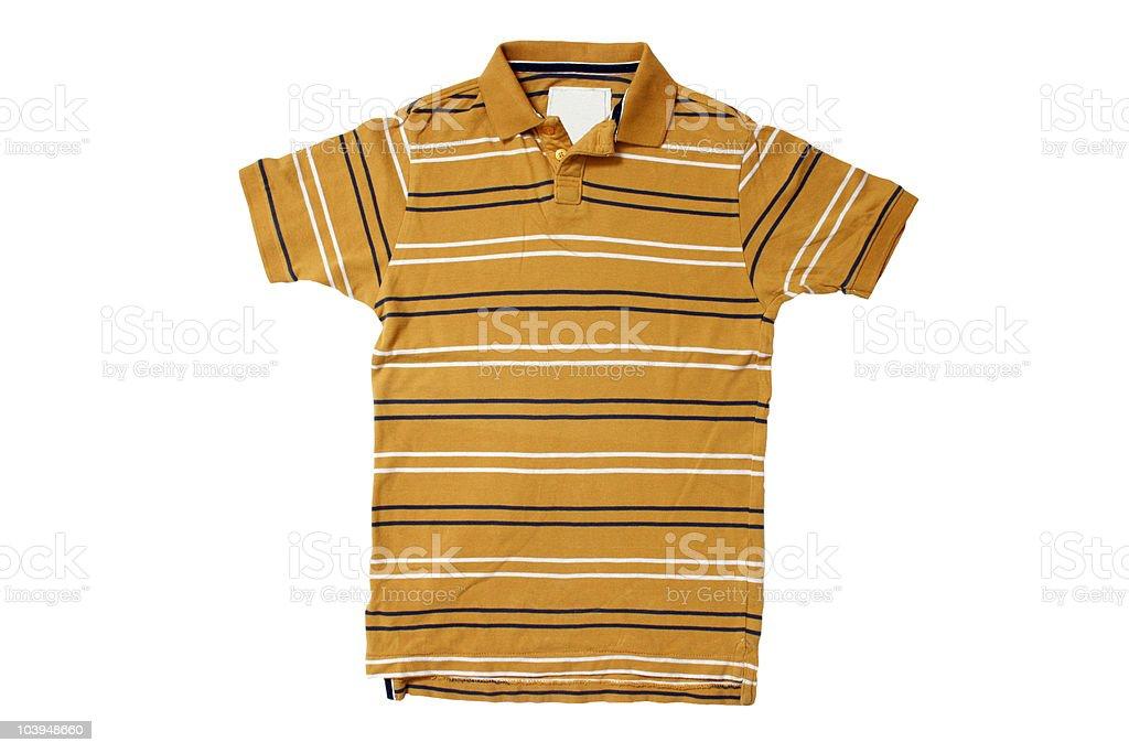 Yellow Polo Shirt With White/Blue Stripes - White Background stock photo