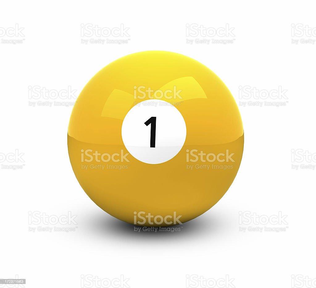 Bola de billar con blanco, amarillo - foto de stock