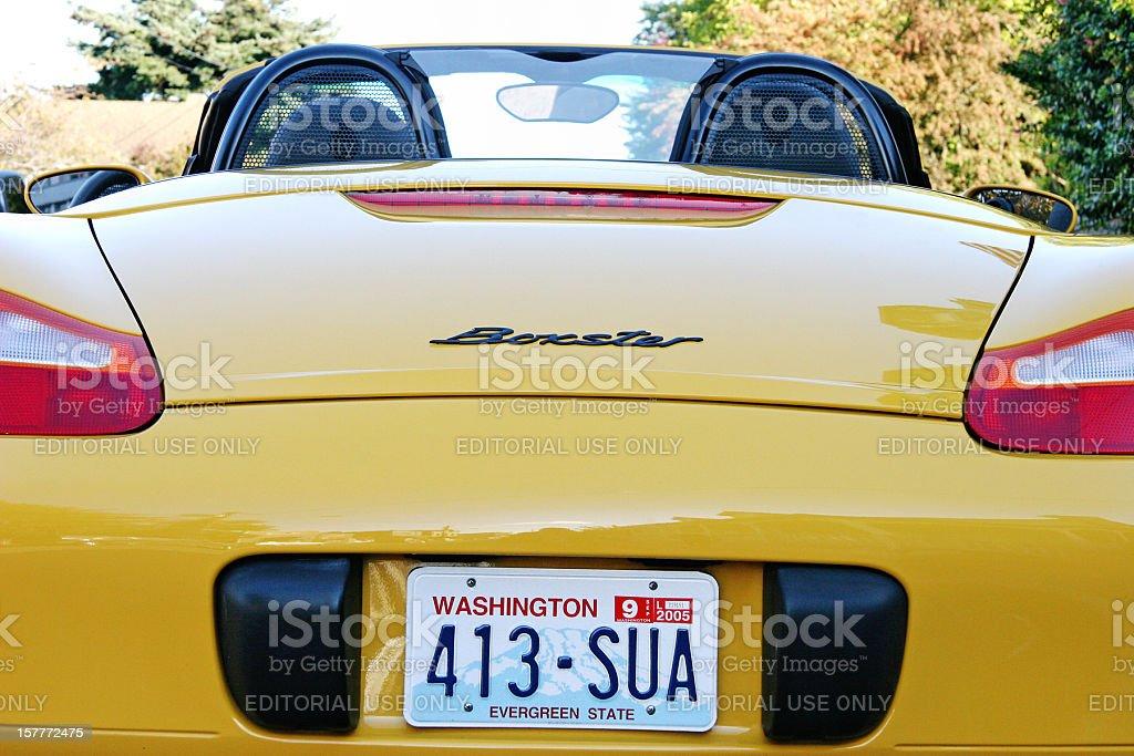 Yellow Porsche Boxster Sports Car stock photo