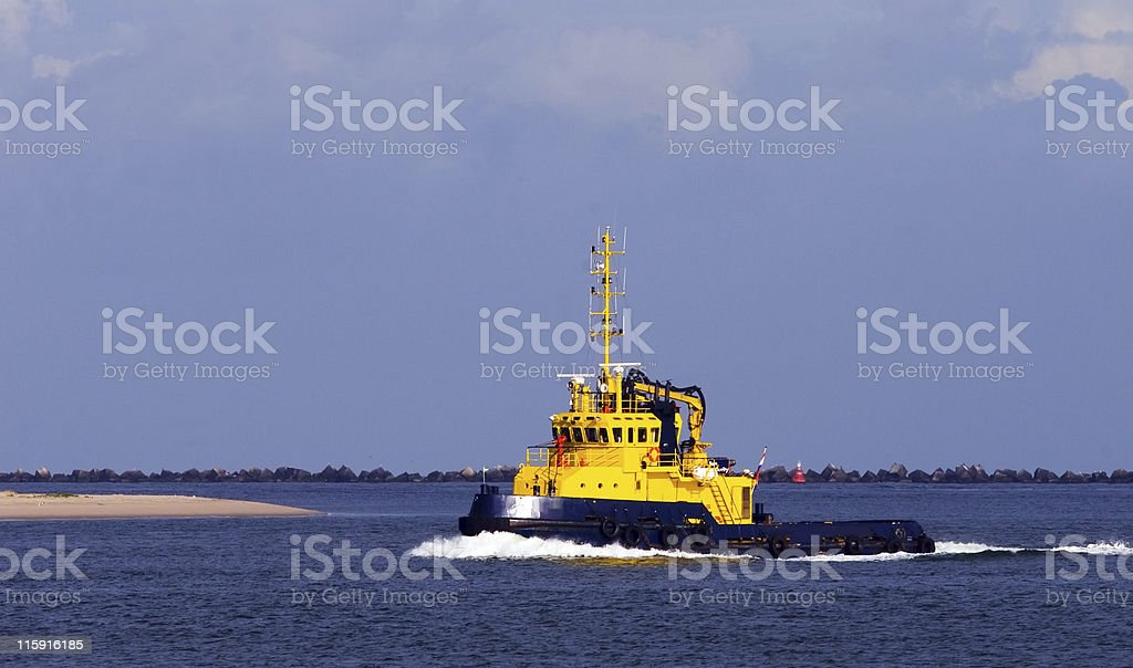 Yellow port authority boat stock photo