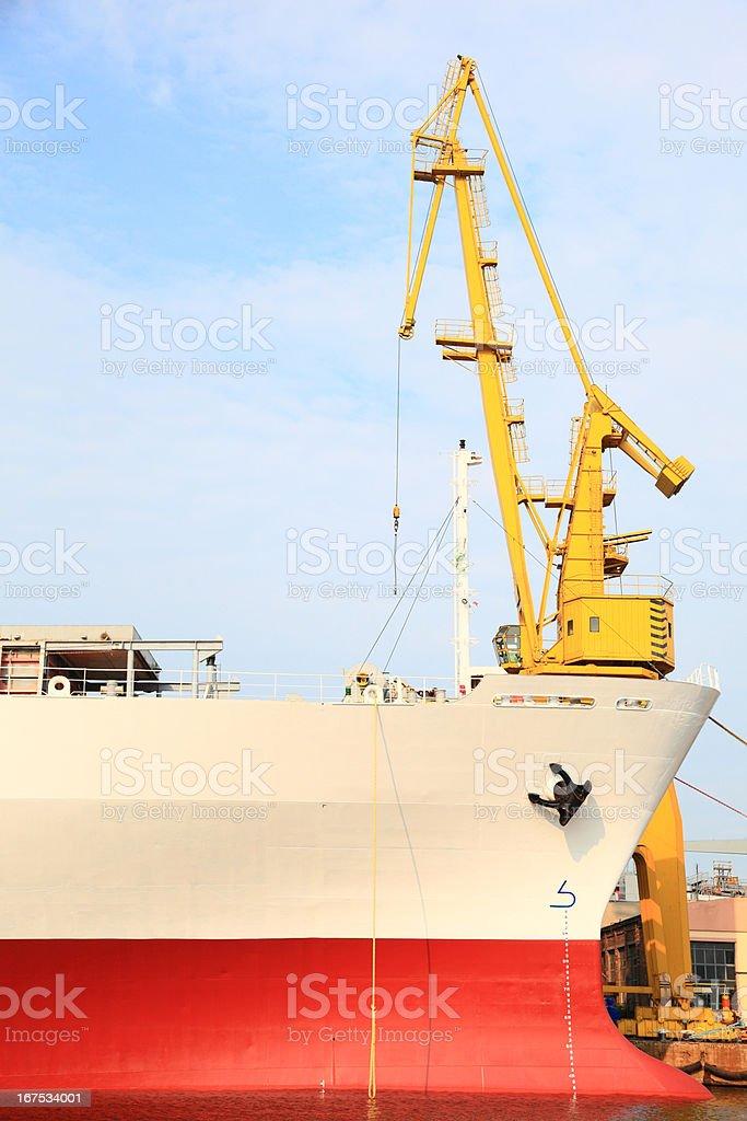 yellow port crane terminal seaport royalty-free stock photo