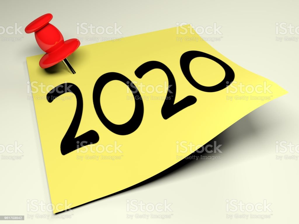Yellow post with the write 2020 - 3D rendering stock photo