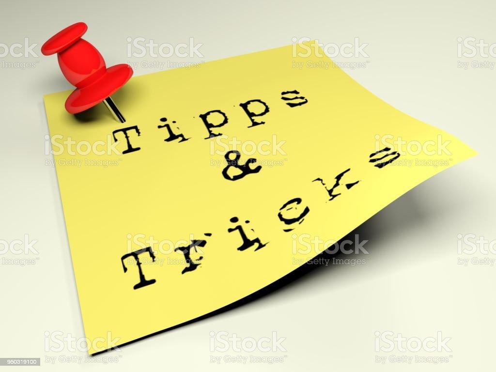 Gelbe Post mit Schreiben Tipps & Tricks - 3D-Rendering - Lizenzfrei Zaubertrick Stock-Foto