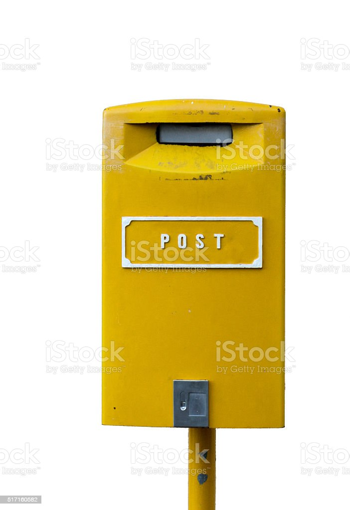 Yellow postbox with white lettering isolated on the white background stock photo