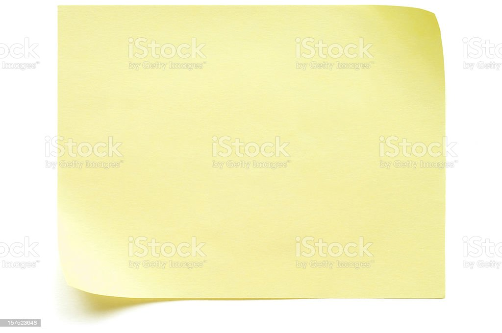 Yellow Post-it Note isolated on white royalty-free stock photo