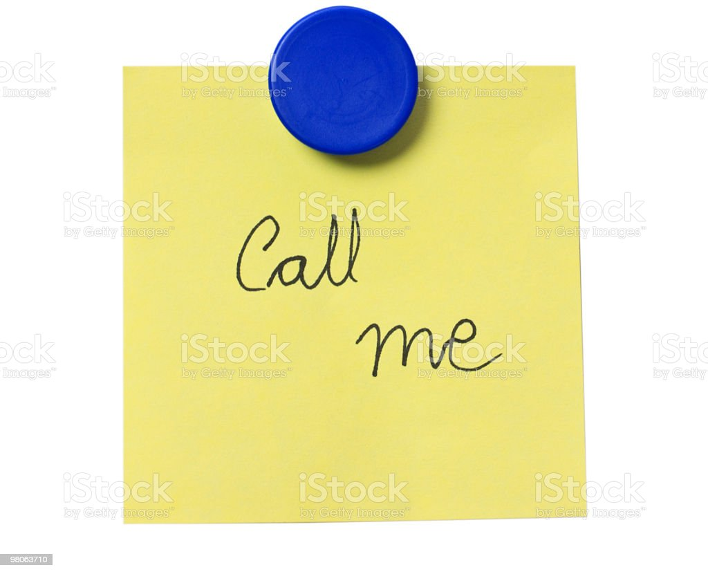 Yellow Post-it over White with the Phrase 'Call me' royalty-free stock photo
