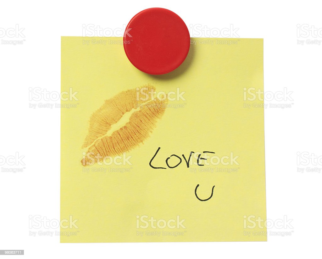 Yellow Post-it over White with the Phrase 'Love u' royalty-free stock photo