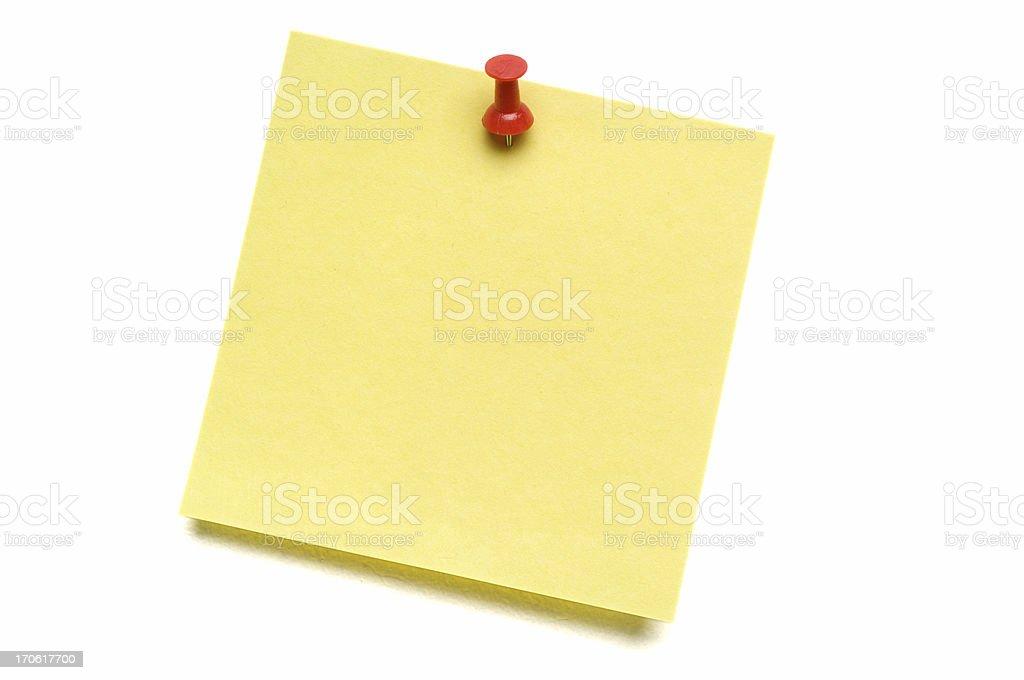 Yellow Post-it with Push Pin stock photo