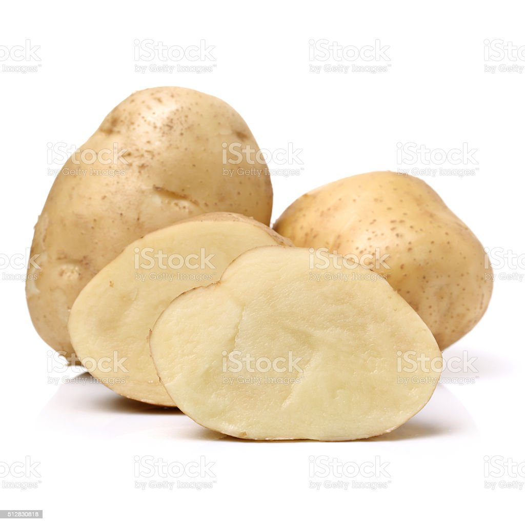 yellow potatoes stock photo