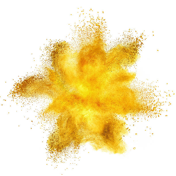 yellow powder explosion isolated on white - yellow stock photos and pictures
