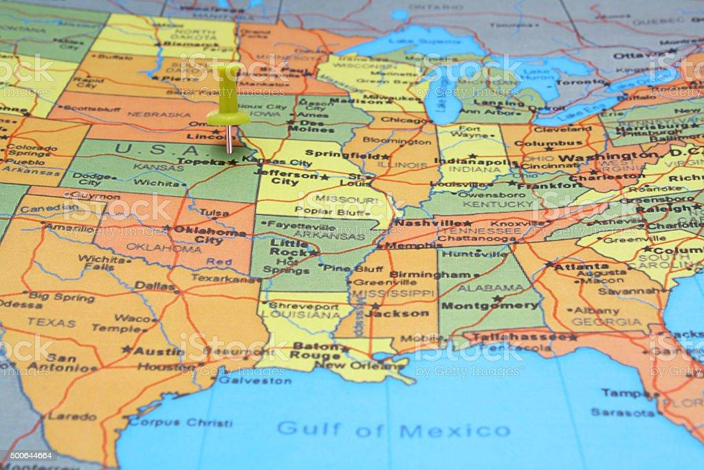 Yellow Pushpin on USA map stock photo