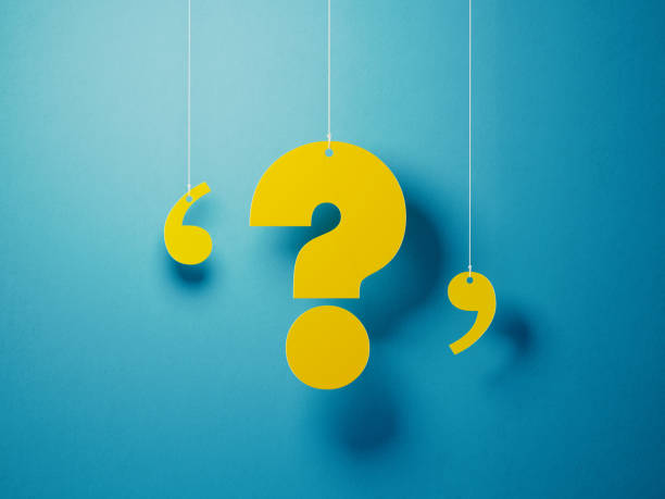 Yellow Question Mark With String Over Blue Background Yellow question mark with string hanging over blue background. Horizontal composition with copy space. skeptic stock pictures, royalty-free photos & images