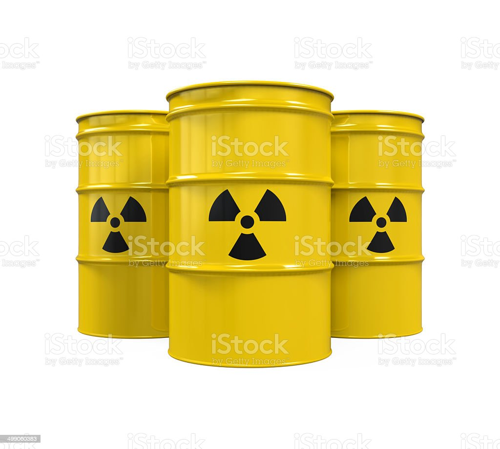 Yellow Radioactive Barrels stock photo