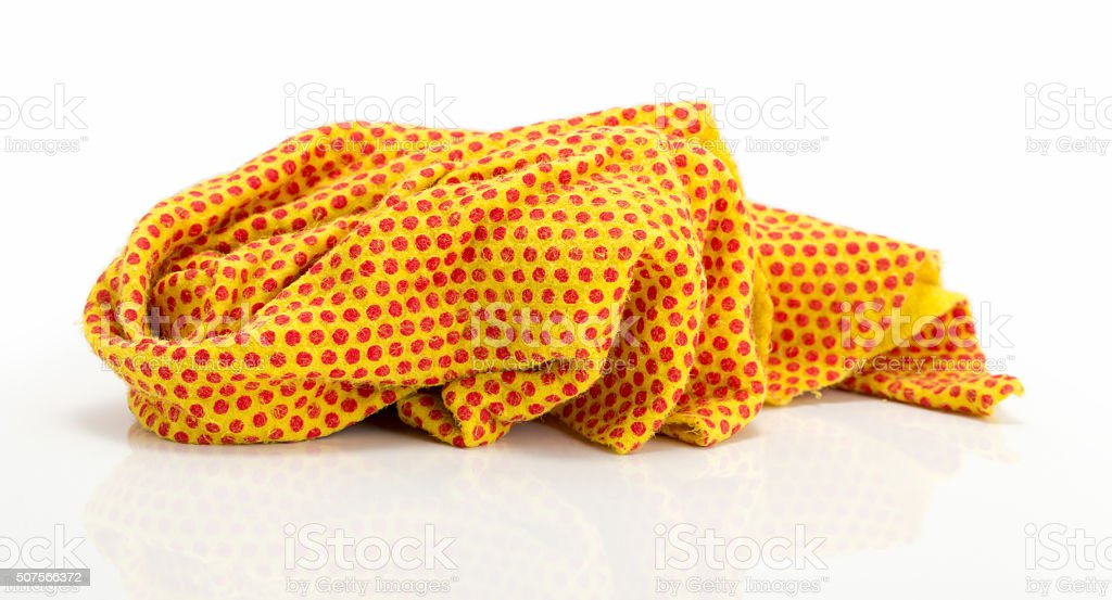 yellow rag isolated close up stock photo