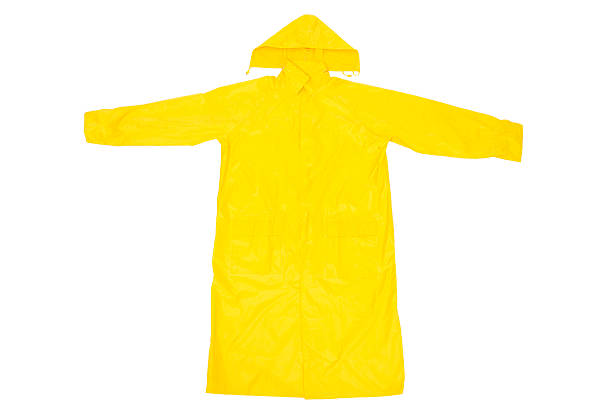 Yellow Raincoat Yellow Waterproof Rain Coat, Isolated on White Background waterproof clothing stock pictures, royalty-free photos & images
