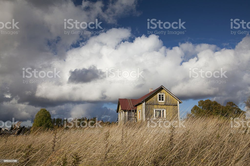 Yellow Ramshackle House royalty-free stock photo