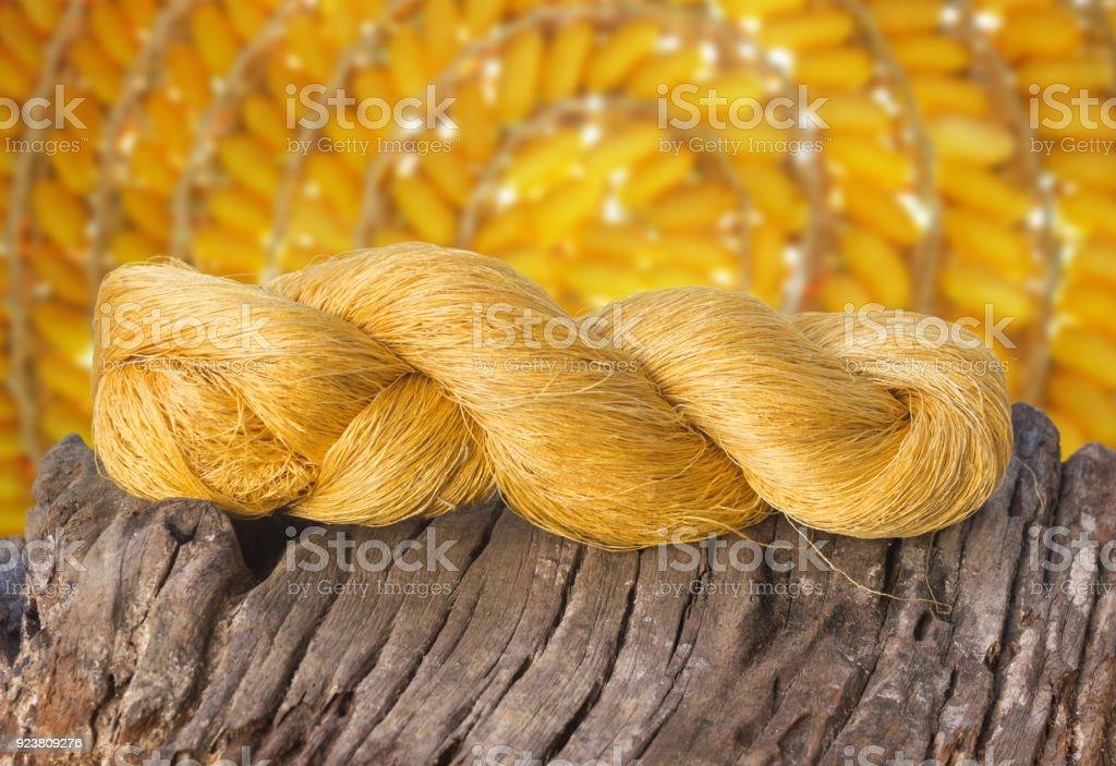 yellow raw silk stock photo