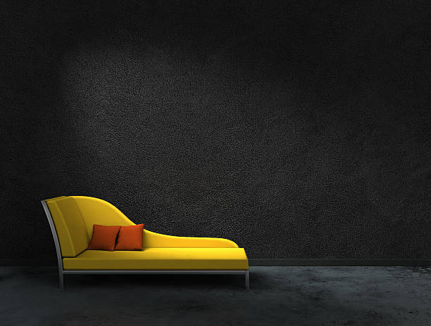 yellow recamier and black wall 3D rendering of a yellow recamier with black wall to present your images. The recamier is my own design and doesn't copy any real existing product. chaise longue stock pictures, royalty-free photos & images