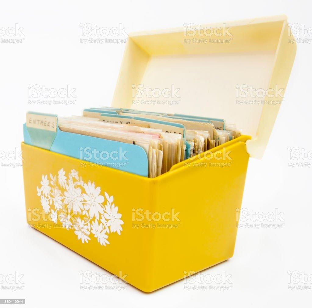 Yellow Recipe Box stock photo