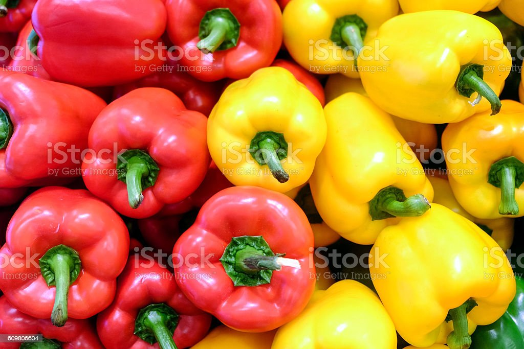 Yellow, red and green bell pepper stock photo