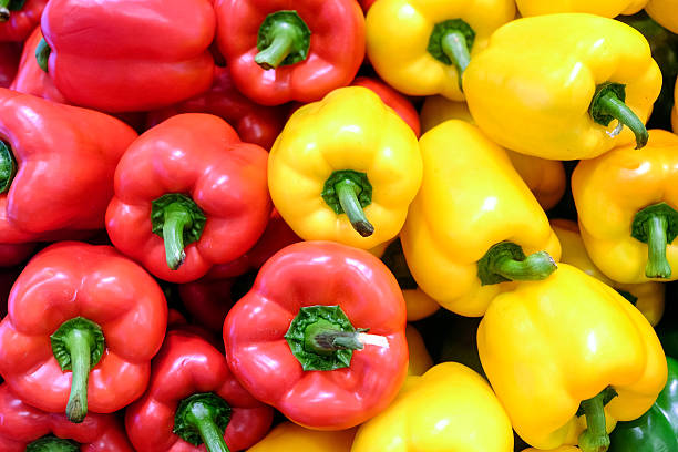 Yellow, red and green bell pepper - foto de stock