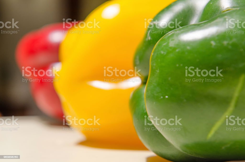 Yellow red and green bell peppers - Royalty-free Basket Stock Photo