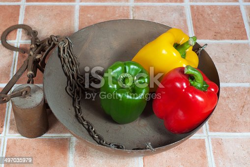 Yellow, red and green peppers in a romane scale