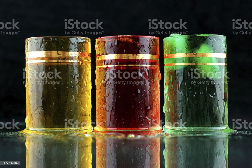 Yellow, red and green shots royalty-free stock photo