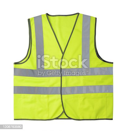 Yellow reflective vest isolated on white background